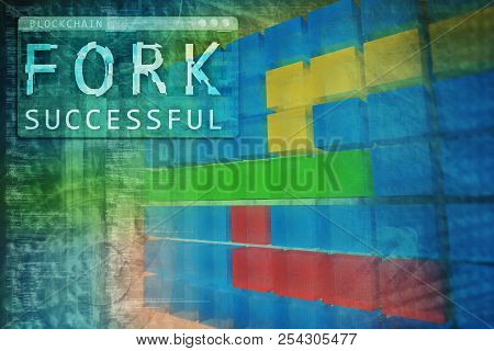 Blockchain Technology Hard Fork Successful. 3d Illustration. Coding Or Hacking Abstract Background.