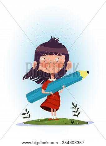 Illustration Of Cartoon Girl Holding Pencil. Artist Desire