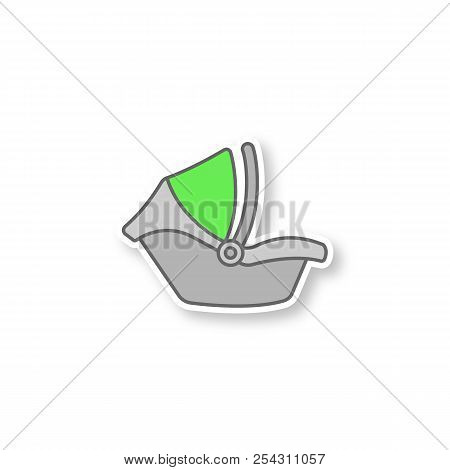 Baby Car Seat Patch. Infant Safety Seat. Child Restraint System. Color Sticker. Vector Isolated Illu
