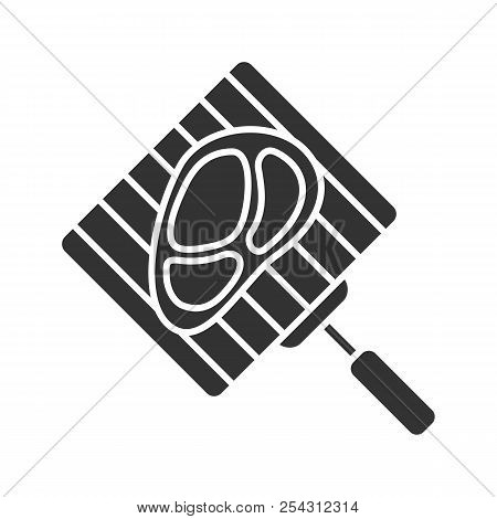 Hand Grill With Steak Glyph Icon. Barbecue Grid With Beefsteak. Silhouette Symbol. Negative Space. V