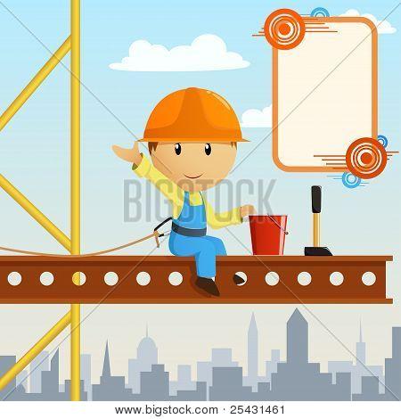 Builder Worker Steeplejack Greeting On High.