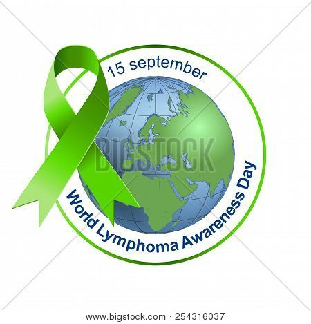 World Lymphoma Awareness Day. Green Ribbon. Vector Illustration On Isolated Background. 15 September