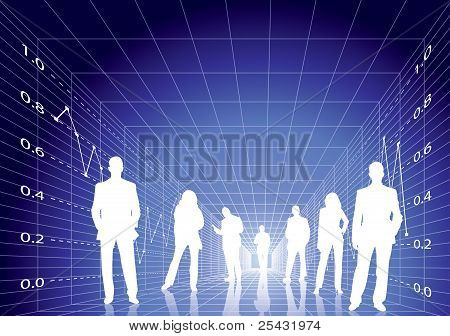 Business People With Digital Stock Diagram Background