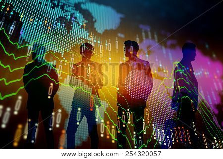 Businesspeople Silhouettes With Forex Chart Standing On Abstract Colorful Background. Meeting And Tr