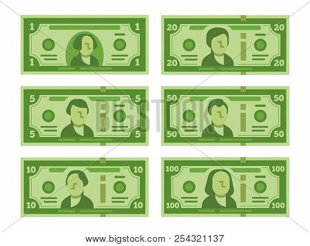 Cartoon Banknote. Dollar Cash, Money Banknotes And One Hundred Dollars Bills Stylized Vector Flat Il