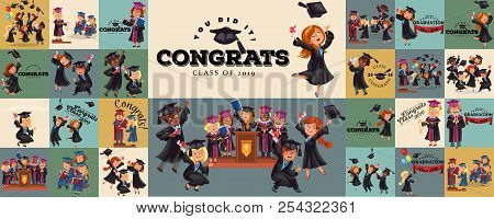 Congrats Flat Set. College Composition Consist Of Graduation Class Of 2019 Students Throwing Caps Gi