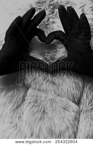 Artificial fur for texture or background. Female hands in black gloves show heart sign on dyed furry coat in purple color on behind. Luxury and elegant fluffy clothes. Eco friendly fashion concept. poster