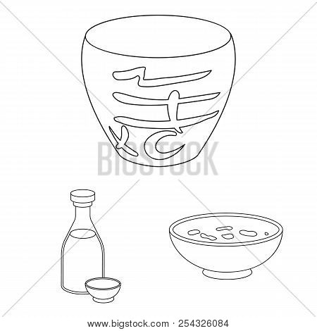 Sushi And Seasoning Outline Icons In Set Collection For Design. Seafood Food, Accessory Vector Symbo