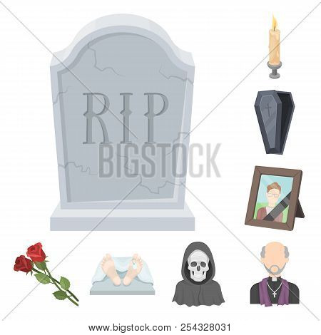 Funeral Ceremony Cartoon Icons In Set Collection For Design. Funerals And Attributes Vector Symbol S