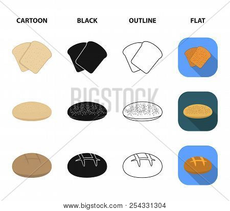 Toast, Pizza Stock, Ruffed Loaf, Round Rye.bread Set Collection Icons In Cartoon, Black, Outline, Fl