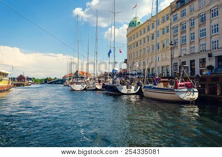 Copenhagen, Denmark - July 13, 2018. Beautiful Yachts And Ships On The Canal. Water Transport. Archi