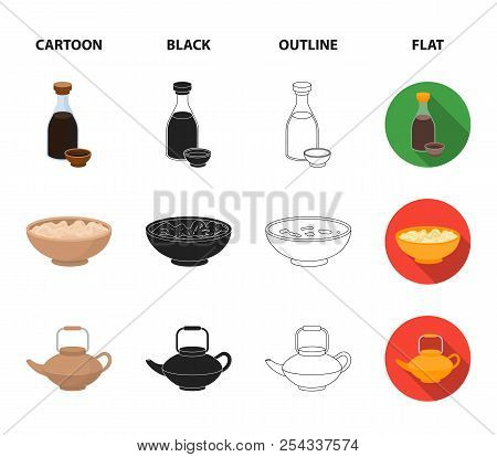 Soy Sauce, Noodles, Kettle.rolls.sushi Set Collection Icons In Cartoon, Black, Outline, Flat Style V