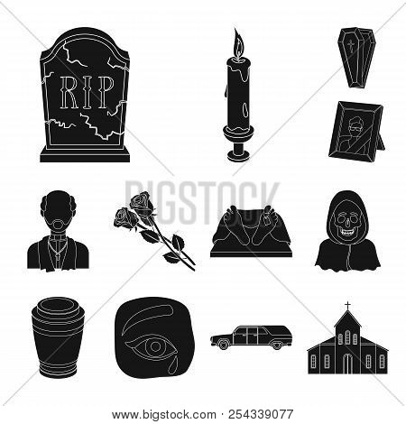 Funeral Ceremony Black Icons In Set Collection For Design. Funerals And Attributes Vector Symbol Sto