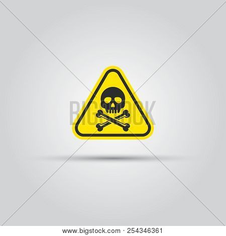 Human Skull And Crossed Bones Caution Triangular Sign Isolated Vector. Warning Signs, Symbols, Dange