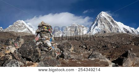 Stone Chorten With Prayer Flags In Everest Base Camp In The Nepal Himalaya