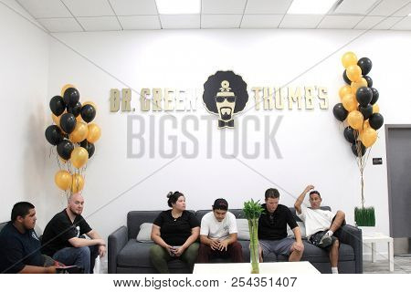 LOS ANGELES - AUG 15: Clients inside the Dr Greenthumb's store - Dr. Greenthumb's Cannabis Dispensary Opening (owned by musician B-Real) at 12751 Foothill Blvd. on August 15, 2018 in Los Angeles, CA