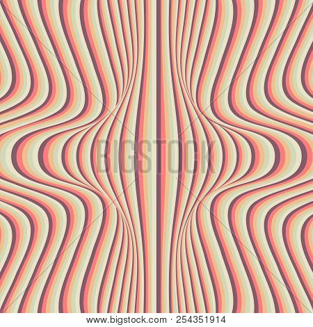 Abstract Background Of Wavy Stripes Of Pastel Tones. Vector Illustration