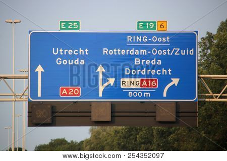 Direction And Speed Sign Above Motorway A20 At The Terbregseplein With Split To The South Of Rotterd