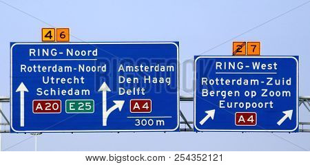 Direction Sign Above Motorway A20 At The Kethelplein With Split To The South Of Rotterdam Via A4.