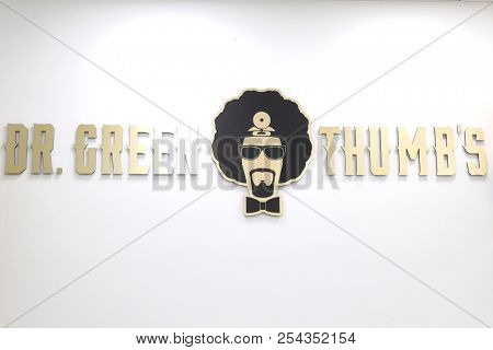 LOS ANGELES - AUG 15: Dr Greenthumb's store, logo at the Dr. Greenthumb's Cannabis Dispensary Opening (owned by musician B-Real) at 12751 Foothill Blvd. on August 15, 2018 in Sylmar, Los Angeles, CA