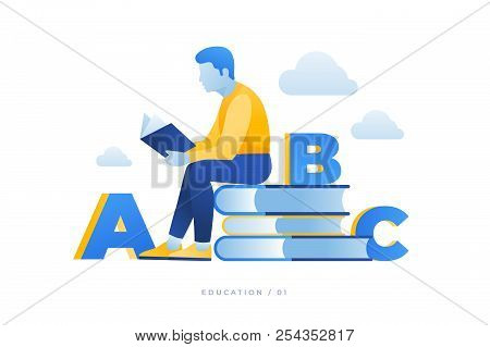 Theme Of Education, Reading Books, Visiting Library. Image Of Reading Person Surrounded By Books And