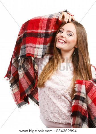 Autumn Outfit Accessories Ideas Concept. Woman Having Long Straight Hair Wearing Warm Checked Scarf