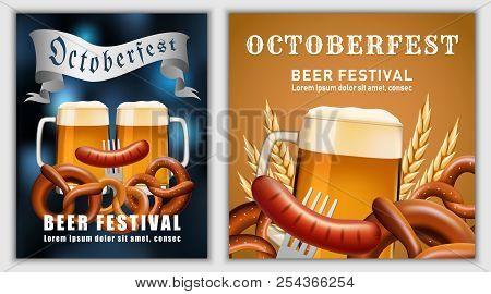 Beer fest october german banner concept. Realistic illustration of beer fest october party german vector banner for web poster