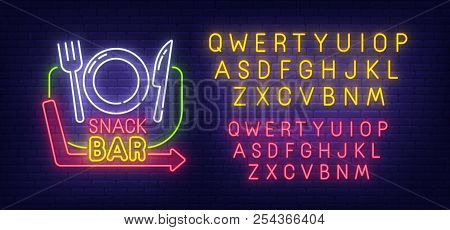Snack Bar Neon Sign, Bright Signboard, Light Banner. Cafe And Restaurant Logo. Neon Sign Creator. Ne