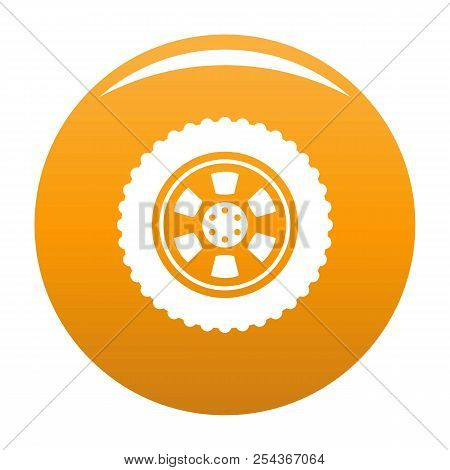 One Tire Icon. Simple Illustration Of One Tire Vector Icon For Any Design Orange