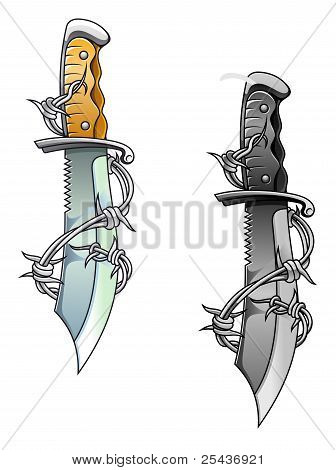 Vintage Dagger With Barbed Wire
