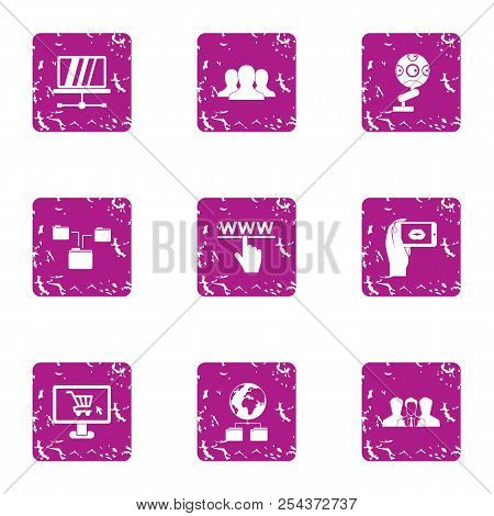Interactive Icons Set. Grunge Set Of 9 Interactive Vector Icons For Web Isolated On White Background