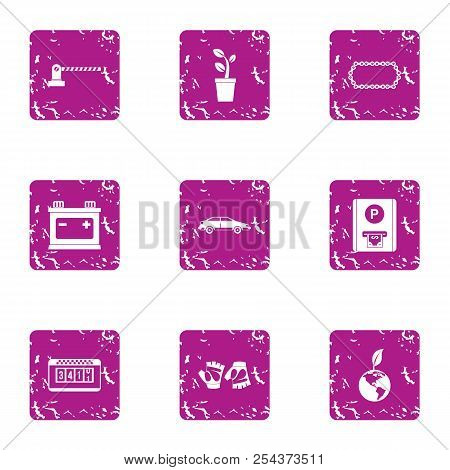 Parkland Stop Icons Set. Grunge Set Of 9 Parkland Stop Vector Icons For Web Isolated On White Backgr