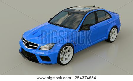 Blue Super Fast Sports Car On A Gray Background. Body Shape Sedan. Tuning Is A Version Of An Ordinar