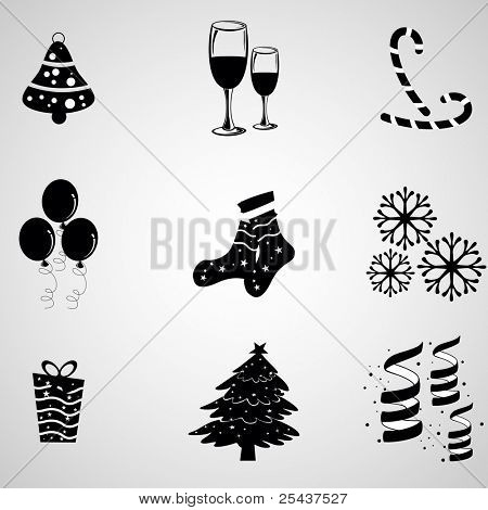 A set of vector objects having jingle bell, wine glass, stick. balloons, socks, snowflakes, gift, tree & ribbon in black & white color for Christmas, new year & winter.