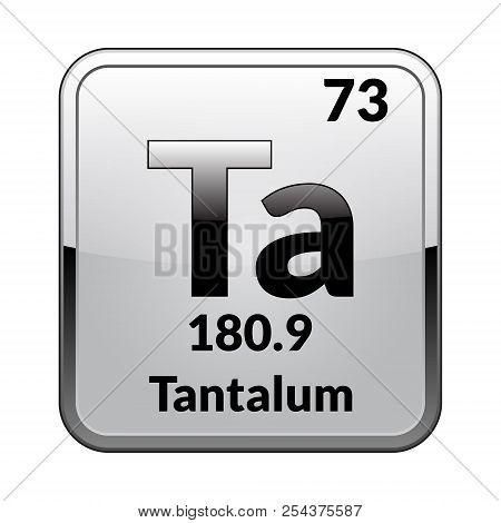 Tantalum Symbol.chemical Element Of The Periodic Table On A Glossy White Background In A Silver Fram