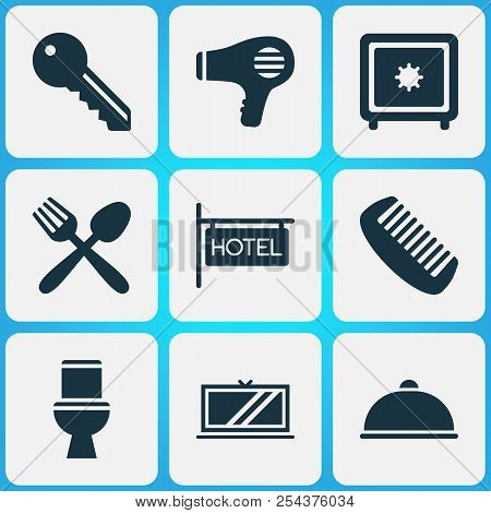 Hotel icons set with hotel sign, key, hairdryer and other restaurant elements. Isolated vector illustration hotel icons. poster