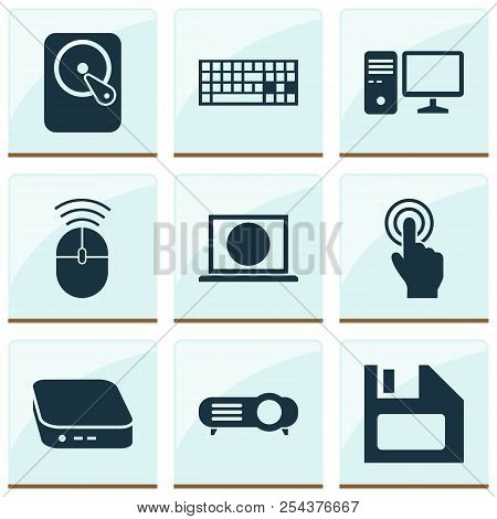 Digital Icons Set With Touchscreen, Pc, Mini Pc And Other Presentation Elements. Isolated Vector Ill