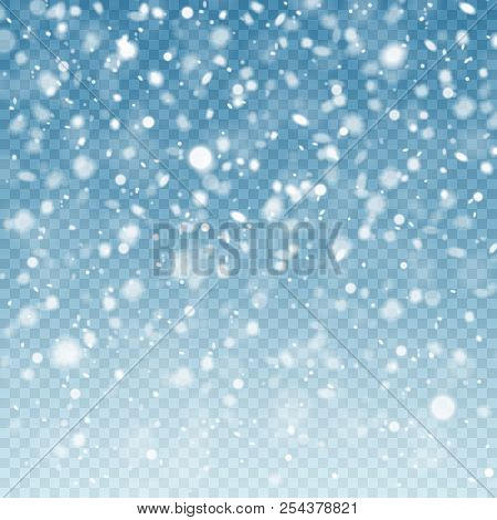 Realistic Falling Snow. Snow Background. Frost Storm, Snowfall Effect On Blue Transparent Background