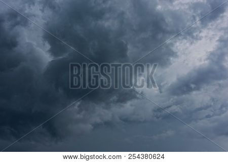 Storm Cloud Background With Dark Gray Sky