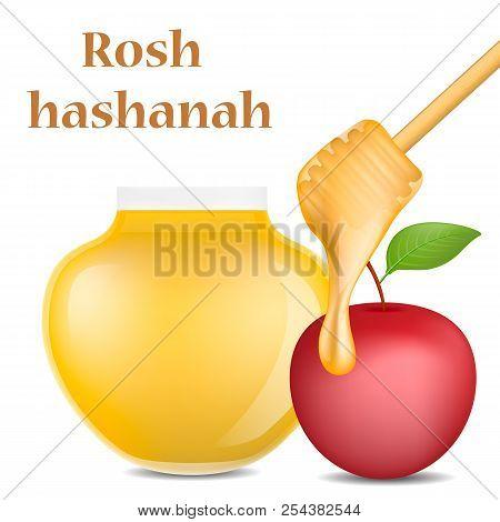 Rosh Hashanah Jewish Religion Concept Background. Realistic Illustration Of Rosh Hashanah Jewish Rel