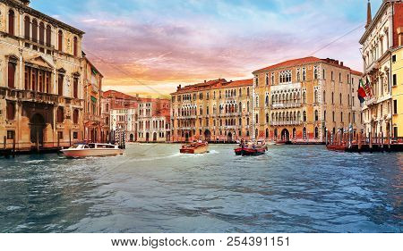 Venice, Italy, Jun 8, 2018: View Of Grand Canal With Boats In Venice, Italy