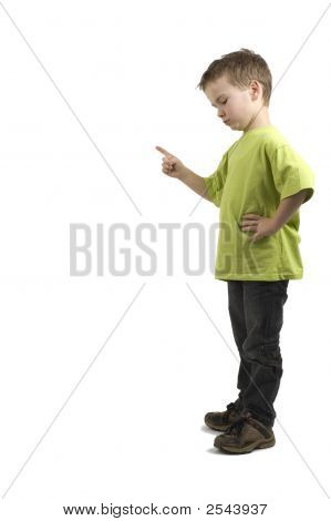 Boy Pointing Down