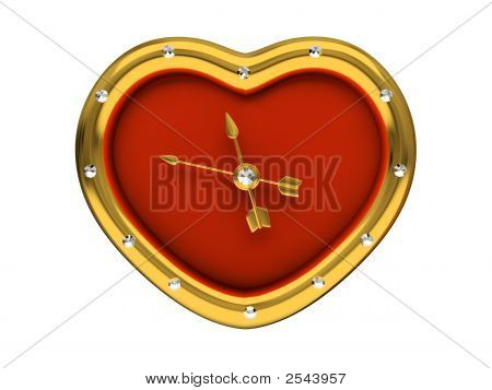 Red Clock-Heart Isolated On White Background 3D
