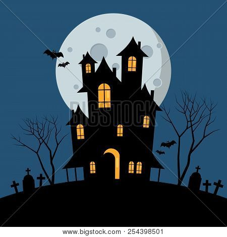 Halloween Haunted House. Vector Illustration Graphic Design