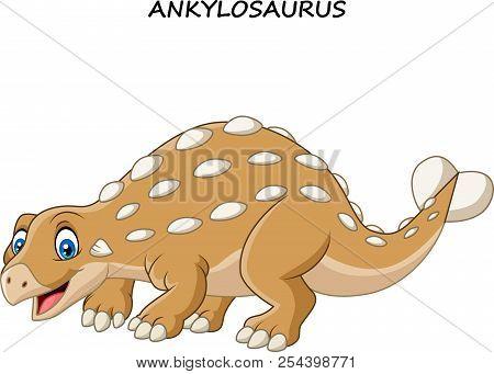 Vector Illustration Of Cartoon Funny Ankylosaurus On White Background