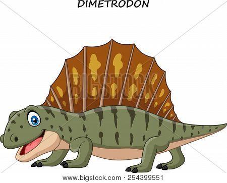 Vector Illustration Of Cartoon Funny Dimetrodon On White Background