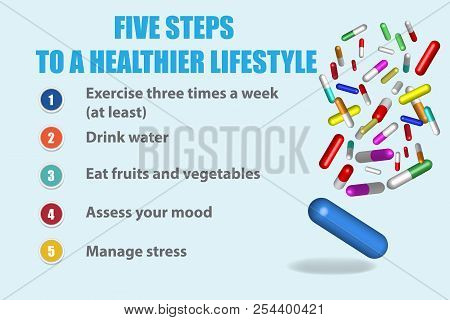 Five Steps To A Healthier Lifestyle. Besides The Inscriptions Showing Five Steps To A Healthier Life