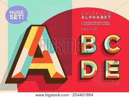 Vector Mosaic Typeset. Textured Geometric Type. Trendy Retro Typography For Dj Music Poster, Club Fl