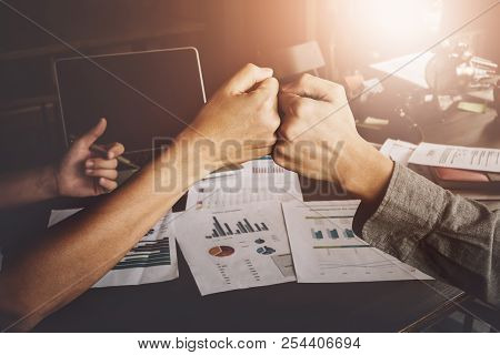 Business Success Concept With Partner, Partnership Giving Fist Bump After Complete A Deal. Successfu