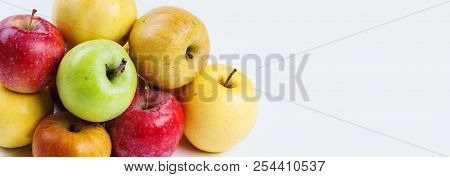 Natural, Organic Apple Fruit. Difference Concept. Various Fresh Ripe Apples In Different Colors: Red